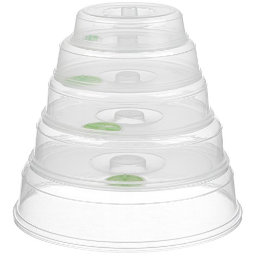 Set of 5 Microwave Plate Covers with Adjustable