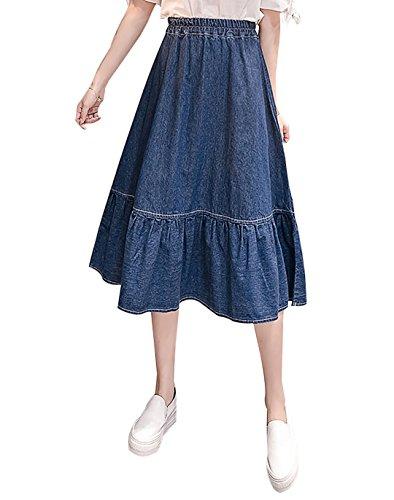 Yimoon Women's Sweet Stringy Selvedge Hem Elastic Waist Ankle Length Flared Denim Skirt (Dark Blue, Medium)