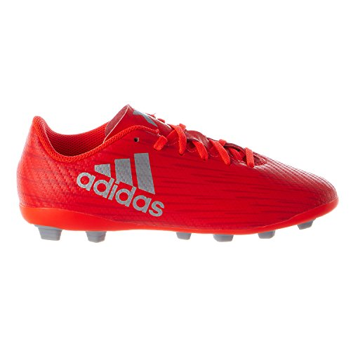 adidas Performance Kids' X 16.4 Firm Ground Soccer Cleats, Solar Red/Metallic Silver/Red, 1 M US Little Kid - Silver Soccer Cleats