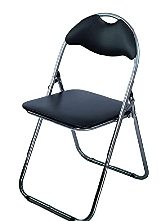 Charmant AHOC Padded Folding Chair Black With Comfortable Seat Retro Office  Reception Funky Foldable Desk Chairs Easy