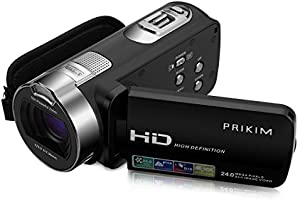 "PRIKIM Video Camera Digital Cameras Camcorder 1080P FULL HD 24MP 16X Zoom DV Portable Camera with 2.7"" TFT LCD 270 Degree Rotation Screen, Black"