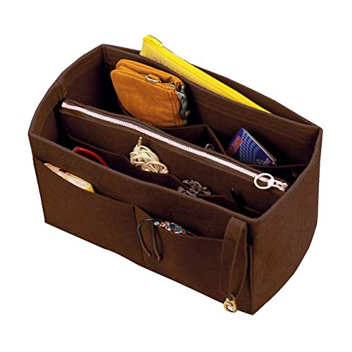 [Fits IENA MM, Dark Brown] Felt Organizer (with Detachable Middle Zipper Bag), Bag in Bag, Wool Purse Insert, Customized Tote Organize, Cosmetic Makeup Diaper ()
