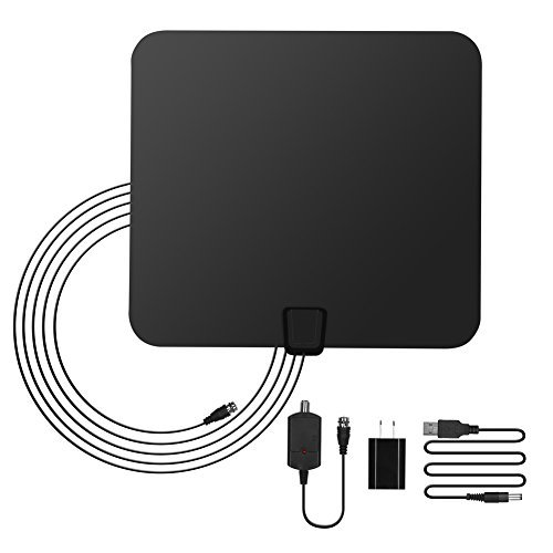 GHB Amplified HDTV Antenna 50 Miles Range Digital TV Antenna Indoor with Detachable Amplifier USB Power Supply and 10ft Coax Cable- Black