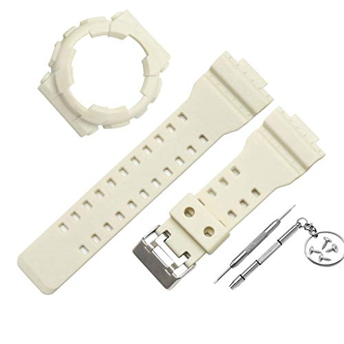 Cywulin Genuine Replacement Band for Casio Mens G-Shock Soft Silicone Sports Wrist Strap Loop with TPU Protective Bumper Case Rugged Cover Protector for Casio Mens G-Shock GD120 GA-100 GA-110 (White) ()