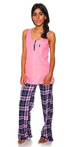 ns Tank Top and Plaid Pajama Pants Knit Sleepwear Set Hard Candy Large ()