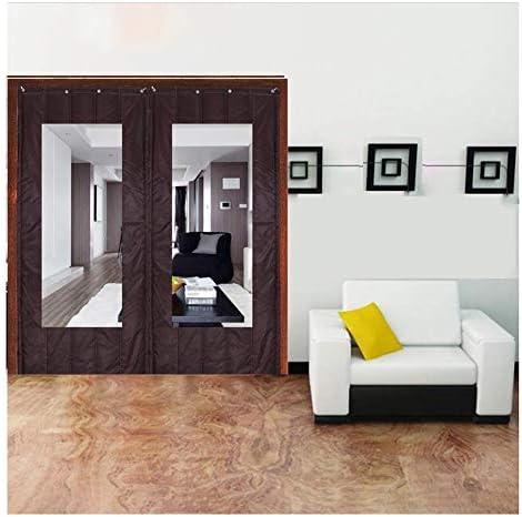 SHIJINHAO ドアカーテンコットンカーテン冬の熱保護ヘビーデューティ家庭用ドアパネル防水防音エアコン風防戸口のスクリーンドア (Color : Brown, Size : 1.4x2m)