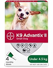 K9 Advantix II Flea and Tick Treatment for Small Dogs weighing less than 4.5 kg (less than 10 lbs.) - 4 pack