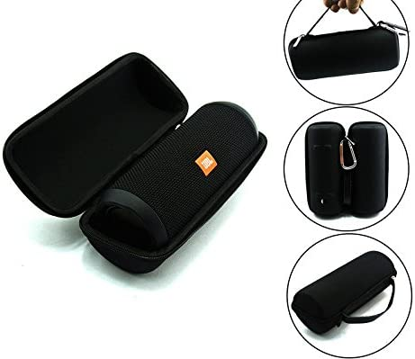 JBL Flip 3 Splash Proof Portable Bluetooth Speaker, Black Plus Protective Hard Cover Portable Case, Black with Keychain.
