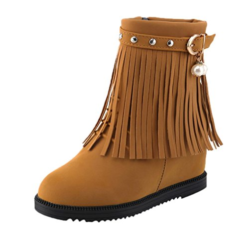 Boots Fashion Colorful Increase Winter Woman Tassel Snow TM Brown Warm Martin Fringe Women Short Flat Boots 1Tw4q6TU5W