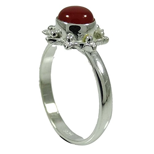 - Banithani Stamp Sterling Silver Ring Cornelian Stone mal Jewelry Gift For Her