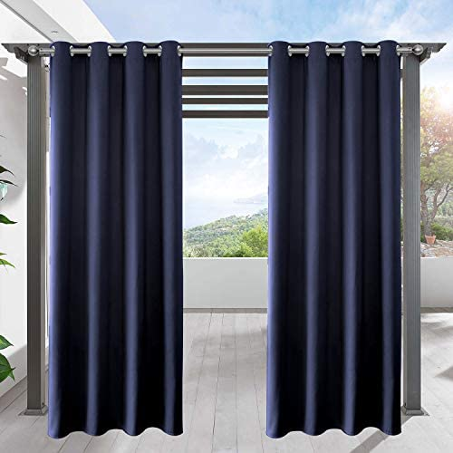 LIFONDER Patio Outdoor Curtains – Water Repellent Silver Grommet Blackout Drape Shade Blind Curtain Panel for Canopy Pergola Yard Privacy, W52 by L95 Inches, Navy Blue, 1 Pc
