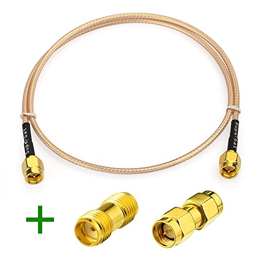 Superbat RF Coax SMA Male to Male Adapter Extension Cable RG316 50cm(20inches) + 2pcs SMA Adapter for SDR Equipment Antenna Ham (Amplifier Ham Radio)