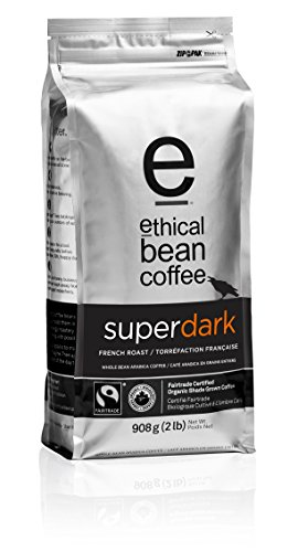 Superdark Ethical Bean Coffee: French Roast Whole Bean Coffee - USDA Certified Organic Coffee, Fair Trade Certified - 2 lb Coffee Bag (908 g)