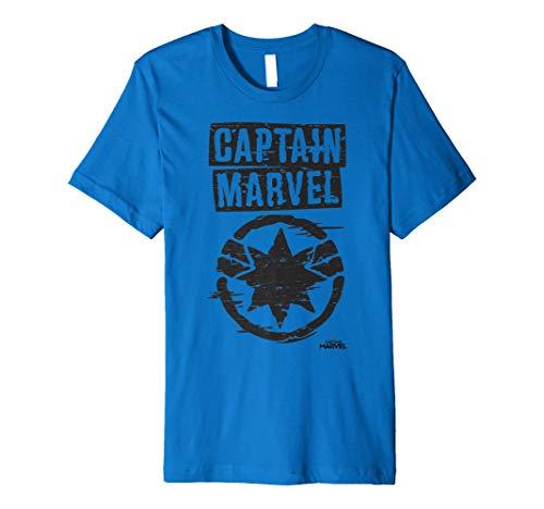 (Captain Marvel Painted Circle Logo Premium T-Shirt)