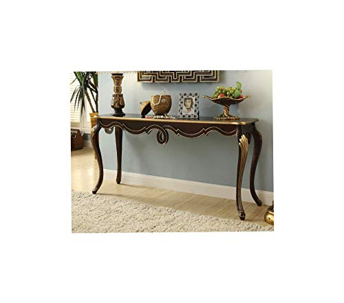 Bеnzаrа Deluxe Premium Collection Royal Wooden Console Table with Queen Anne Legs Brown and Gold Decor Comfy Living Furniture ()