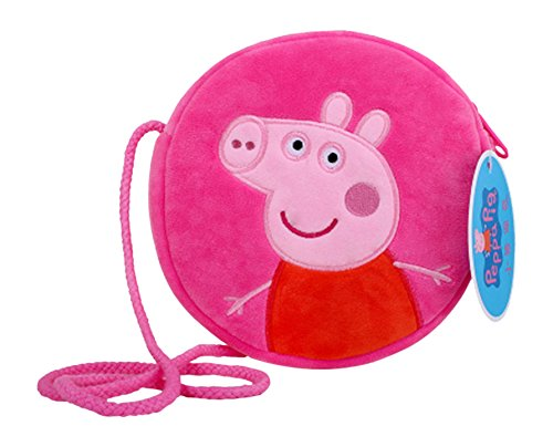 Peppa Pig Bag Coin Purse Crossbody Bag Velvet Purse Authentic Candy Bag Wallet George Pig Soft Toy Bag (Round Bag Pink)