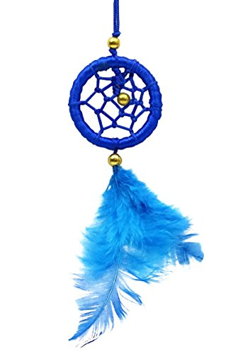 SuSvapnaah Mini Dream Catcher For Car Small Blue Hanging Ornament Round 1.5 Inch