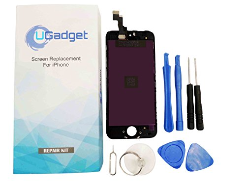 UGadget new black LCD Touch Screen Digitizer Assembly replacement with tool kit for iPhone 5S (4