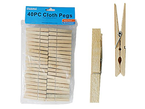 40PC Wooden Clothespins, Cloth Pegs, 2.75''L , Case of 96 by DollarItemDirect