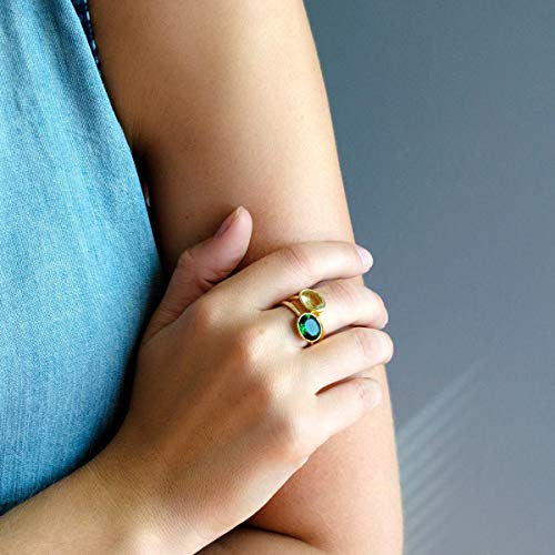 Emerald Quartz ring, stackable ring, Vermeil Gold or silver, bezel set ring, oval ring, green gemstone ring, May Birthstone ring
