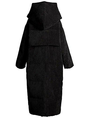 donne cappuccio 3XL casual coste cappotto a con addensare S inverno piumino lungo caldo black velluto rxSYPnrqCw