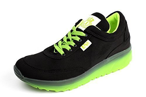 Damen Mode Damen Schnürer Turnschuhe Flache Schuhe Sneakers Fitnessstudio Pumps - Schwarz, EU 40