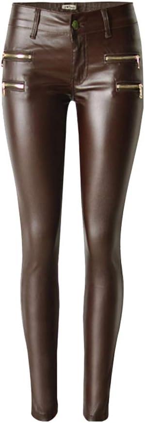 Pantalones de Cuero Imitación para Mujeres Skinny Leggins