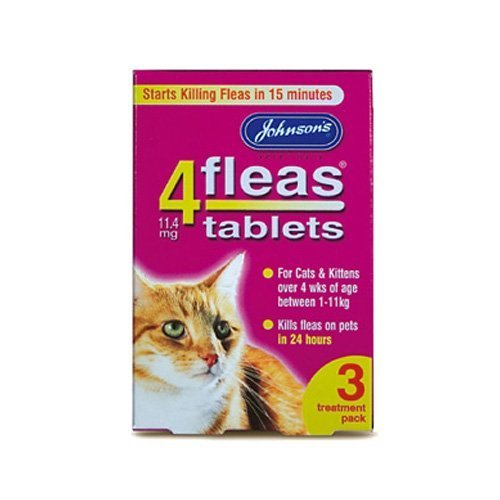 Johnsons 4 Fleas Tablets for Cats & Kittens x 3 Tablets 50g - Bulk Deal of 6x by Johnsons