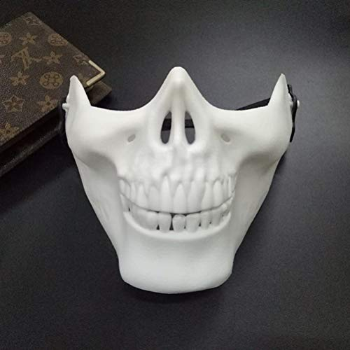 Inno-Huntz Skeleton Face Mask Realistic Halloween Skull Mask Half Face Design in Cool Cosplay Party Costume Men Women Décor Wear Accessory (White)