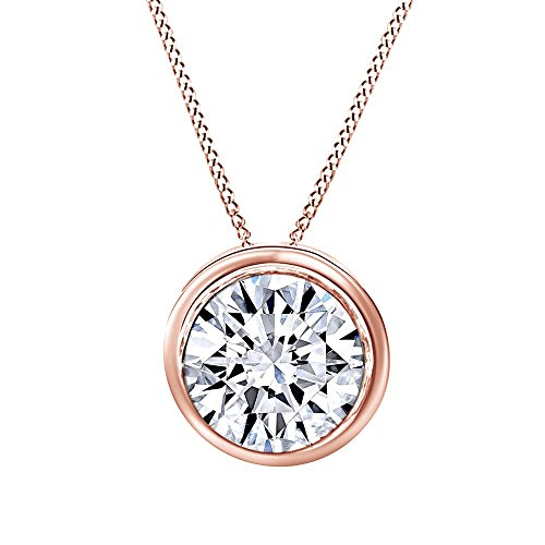 (Jewel Zone US Round Cut White Cubic Zirconia Bezel Set Solitaire Pendant Necklace in 14k Solid Gold (1 cttw))