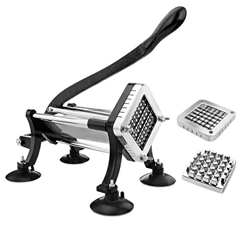 New Star Foodservice 43204 Commercial Grade French Fry Cutter with Suction Feet, 1/2 Inch and 3/8 Inch Blades, Limited Edition Black