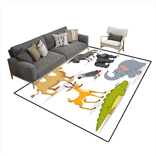 Area Rugs for Bedroom African Animals Cartoon Set Gorilla Monkey Gray Parrot Elephant Gazelle Antelope Crocodile Bactrian Camel anwildebeest Z