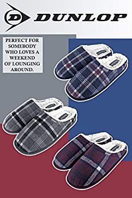 MENS WINTER FUR LINED LUXURY TARTAN PRINT WARM COSY GIFT DAD SLIPPERS SIZE UK