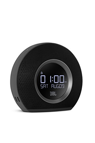 Horizon Wireless Speaker with Alarm Clock, FM Radio in Black