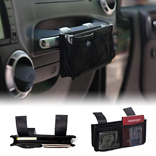 Forhaha Storage Bag Passenger Grab Handle Storage Bag Organizer Bag Interior Accessory Bag for All Models of Jeep Wrangler Gladiator Cherokee – with 2 Hook and Loop Straps, Double Storage Space, Black
