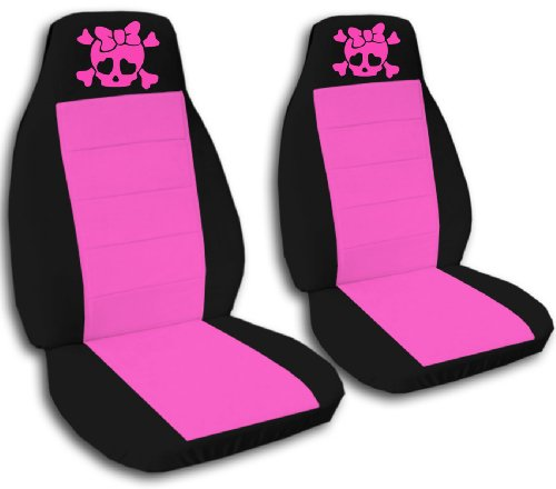 2 Black and Hot Pink Girly Skull seat covers for a 2009 to 2011 Toyota Corolla. Side Airbag friendly. (Skull Cover Pink Car Seat)