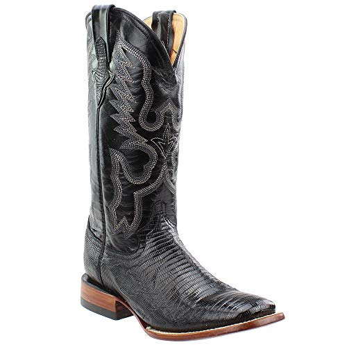 Ferrini Women's Teju Lizard Western Boot Black 10 B ()