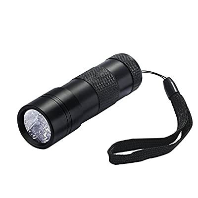 Petist UV Black Light 12 LED Ultra Violet Flashlight, Handheld Pets Urine and Stains Detector, Powered by 3 AA batteries, Black