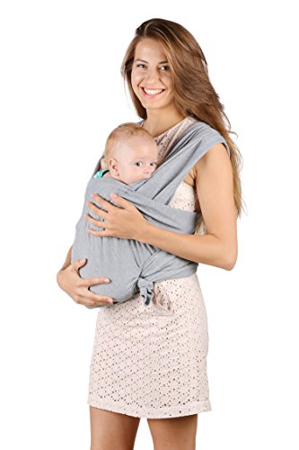 Baby Sling Carrier - Natural Cotton Nursing Moby Cover For Newborns Breastfeeding Sling Baby Soft & Safe Holder Gray Nice Baby Shower Gift by BubblePleasure …