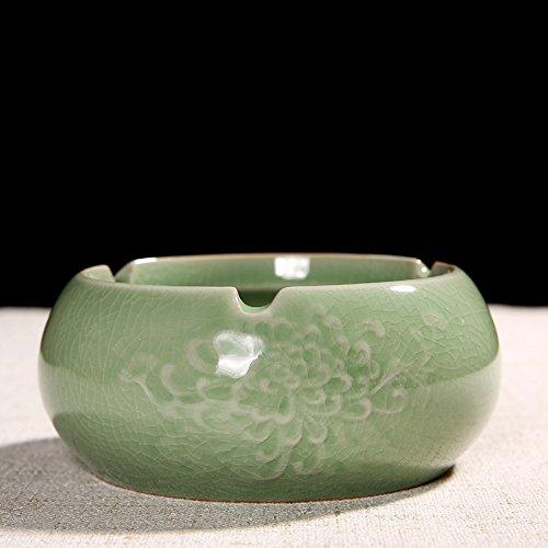 Znzbzt ashtray ceramic creative personality and stylish bedroom living room living room tea table ashtray, dark brown smoke cylinder and kiln green Daisy