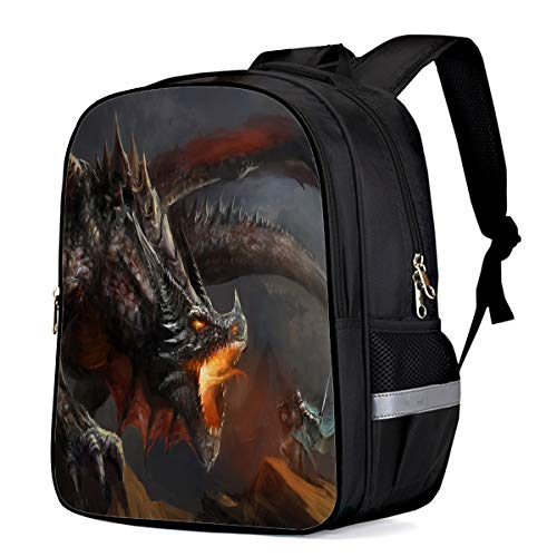 (Water Resistant School Backpack, Warrior Fighting with Evil Dragon Oxford 3D Print College Student Rucksack Daypack for School Camping Travel 41x30x17cm)