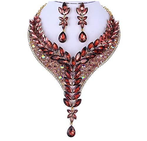 Janefashions Ivy Austrian Rhinestone Crystal Statement Necklace Earrings Set Burgundy N999 (Burgundy Rhinestone Necklace)