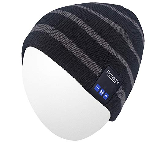 (Qshell Winter Unisex Adult Wireless Bluetooth Beanie Hat Cap Ear Covers with Headphones Headsets Earphones Speakers Music Audio Hands-Free Phone Call for Sports Fitness Gym Exercise Workout - Black)