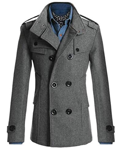 Winter Coat Jacket TTYLLMAO Overcoat Solid Men's Trench Grey Breasted Double HqExwXt