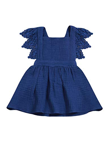 Infant Baby Girls Dress Ruffle Sleeveless Summer Princess One-Piece Skirt Sundress Set(6-12 Months) Blue