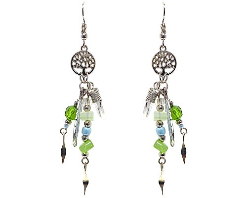 (Tree of Life Silver Charm Chip Stone Colored Feather Charm Quartz Crystal Beaded Dangle Earrings (Lime-Green/White/Light-Blue) )