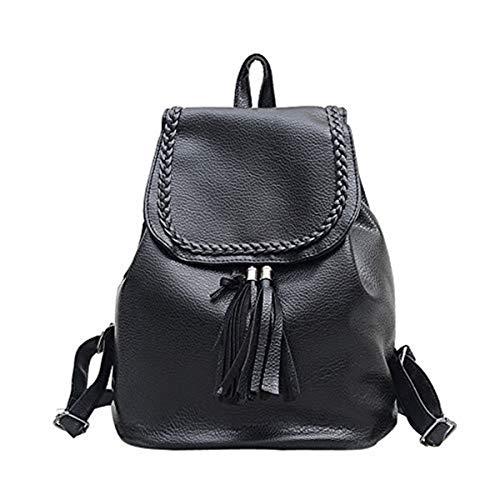 Women's Leather Tassel School Bag Travel Backpack Shoulder Bag