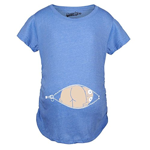 Crazy Dog TShirts - Maternity Baby Mooning Novelty Shirt Fun Cute Baby Bump Humor T shirts (Blue) S - damen - S