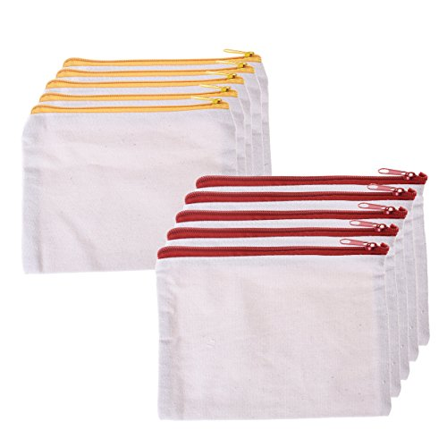 BCP 10-Pieces Multi-purpose Cotton Canvas Zipper Pen Pencil Cosmetic Makeup Bag Pouch 7x 5-1/2 ()