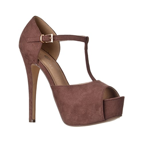 Riverberry Women's Abby Peep Toe Platform T-Strap High Heel Pump, Brown Suede, 9 (Brown Suede High Pumps Heel)